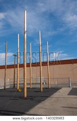 Utility pole climbing outdoor training area on a nice day