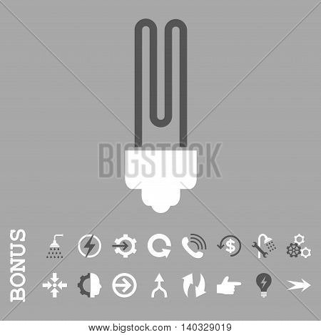 Fluorescent Bulb vector bicolor icon. Image style is a flat pictogram symbol, dark gray and white colors, silver background.