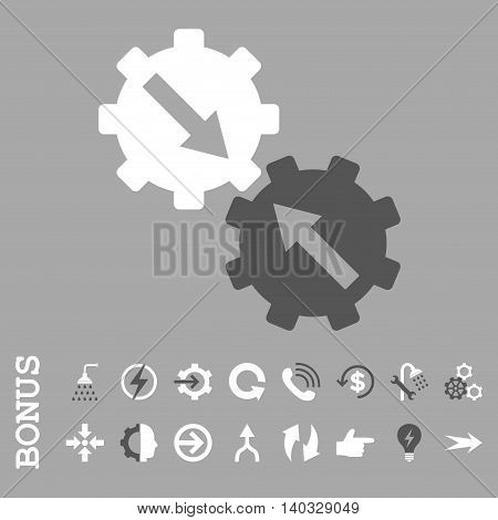 Gear Integration vector bicolor icon. Image style is a flat pictogram symbol, dark gray and white colors, silver background.
