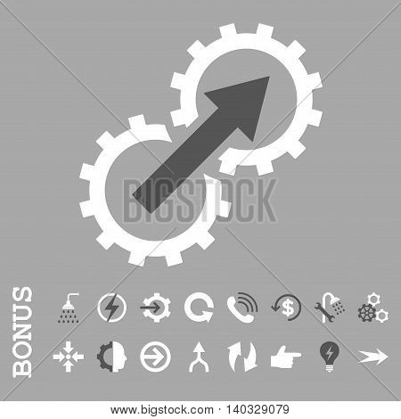 Gear Integration vector bicolor icon. Image style is a flat iconic symbol, dark gray and white colors, silver background.
