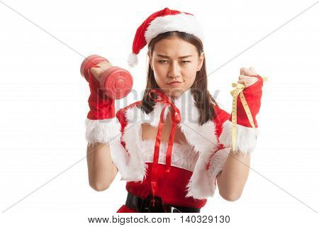 Asian Christmas Santa Claus Girl With Measuring Tape And Dumbbell.