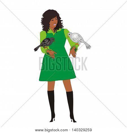 Illustration of a modern asian girl holds the pigeons isolated on white background
