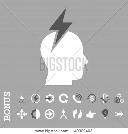 Headache vector bicolor icon. Image style is a flat iconic symbol, dark gray and white colors, silver background.