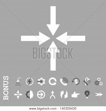 Impact Arrows vector bicolor icon. Image style is a flat iconic symbol, dark gray and white colors, silver background.