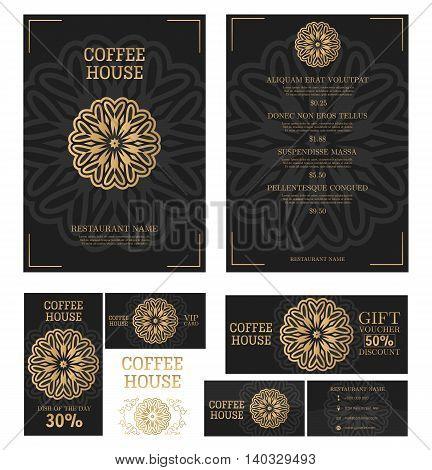 Coffee House menu design. Coffee restaurant brochure. Design style. Vector cafe menu template.