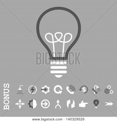 Lamp Bulb vector bicolor icon. Image style is a flat iconic symbol, dark gray and white colors, silver background.