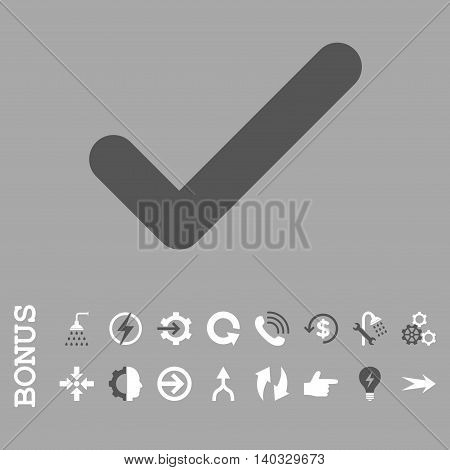 Ok vector bicolor icon. Image style is a flat pictogram symbol, dark gray and white colors, silver background.