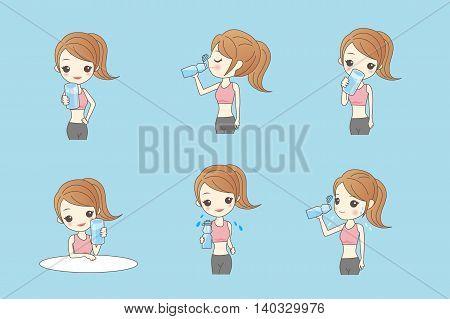 beauty sport woman is drinking water healthy