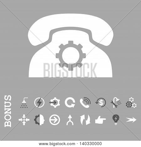 Phone Settings vector bicolor icon. Image style is a flat iconic symbol, dark gray and white colors, silver background.
