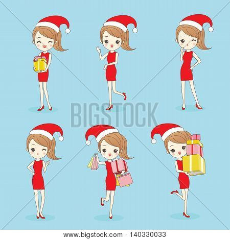 Cartoon happy woman wear christmas clothesa and take gift and bags