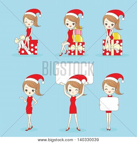 Cartoon happy woman wear christmas clothesa and show something