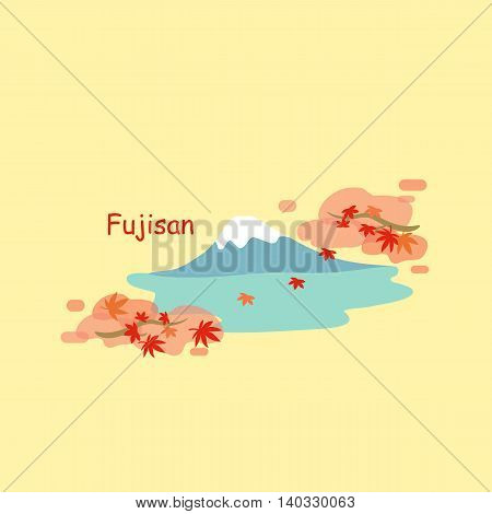Mountain Fuji and maple in autumn - great for your design