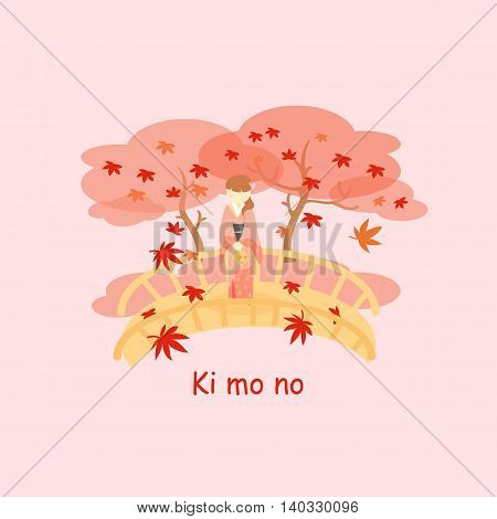 Japan woman wear Kimono and maple in autumn
