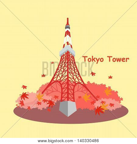 Japan tokyo tower and maple in the fall