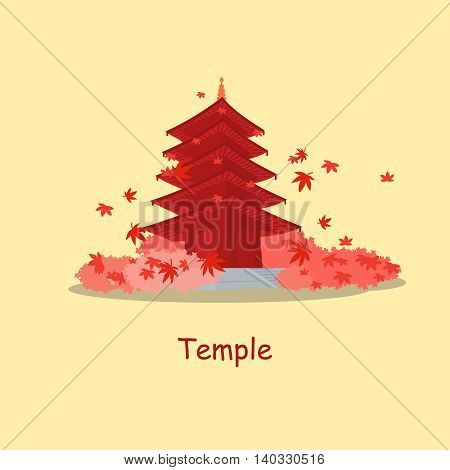 Tradition Temple in Japan with maple in the autumn