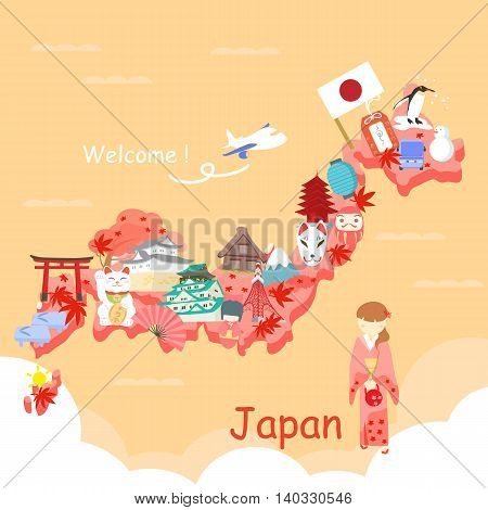 cute cartoon japan element and maple in fall
