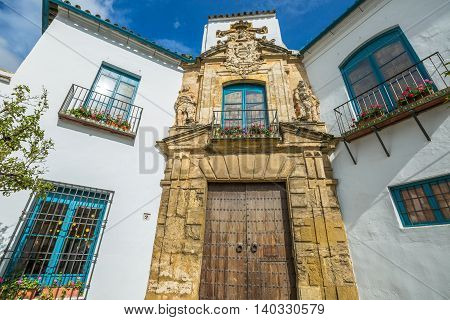 The renaissance portal of Palacio de Viana in Cordoba, Andalusia, Spain.