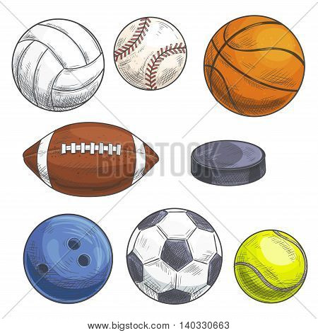 Sport balls set. Hand drawn color pencil illustration. Vector sketch icons of sports gaming accessories. Freehand drawings of balls for rugby, football, soccer, baseball, basketball, tennis, hockey puck, bowling, volleyball.