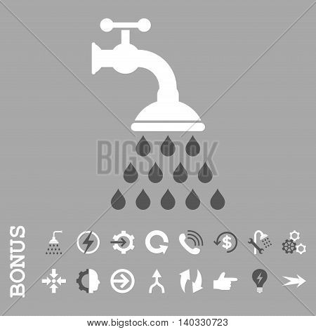Shower Tap vector bicolor icon. Image style is a flat pictogram symbol, dark gray and white colors, silver background.