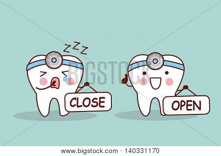 Happy cartoon tooth and dentist take close and open billboard
