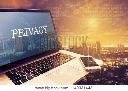 PRIVACY : Grey screen laptop computer. Vintage effects. Digital Business and Technology Concept.