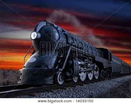 Dreyfuss J3A Streamliner locomotive known as the 20th Century Limited shot at twilight during a sunset