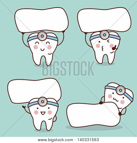 cute cartoon tooth and dentist with biiboard