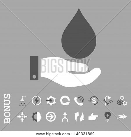 Water Service vector bicolor icon. Image style is a flat pictogram symbol, dark gray and white colors, silver background.