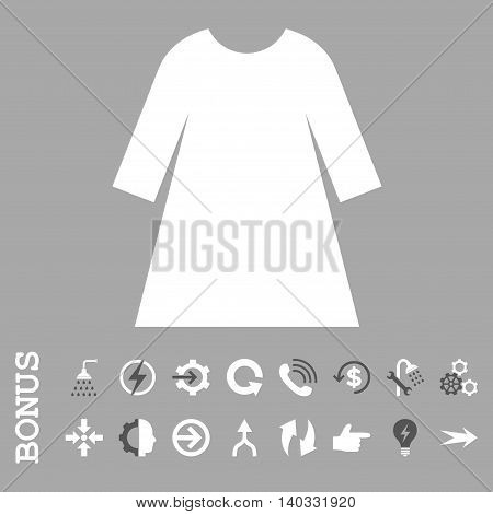 Woman Dress vector bicolor icon. Image style is a flat iconic symbol, dark gray and white colors, silver background.