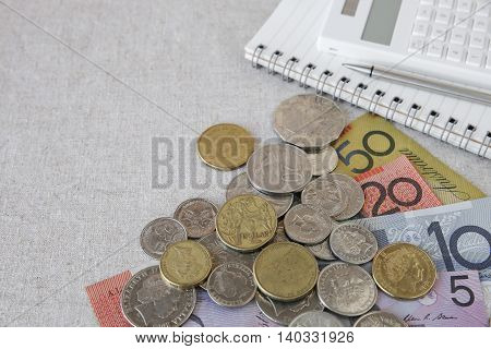 Australian Money, Aud With Calculator, Notebook Selective Focus Copy Space Background