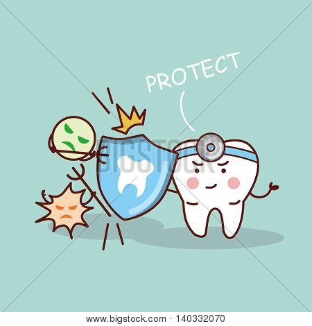 health cartoon tooth and dentist with shield