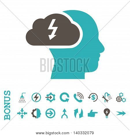 Brainstorming vector bicolor icon. Image style is a flat pictogram symbol, grey and cyan colors, white background.