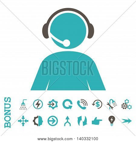 Call Center Operator vector bicolor icon. Image style is a flat pictogram symbol, grey and cyan colors, white background.