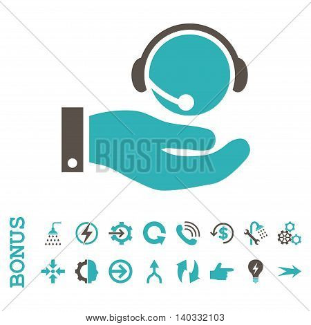 Call Center Service vector bicolor icon. Image style is a flat iconic symbol, grey and cyan colors, white background.