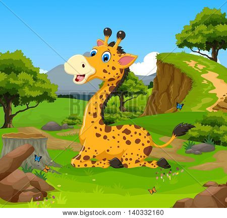funny giraffe cartoon sitting in the jungle
