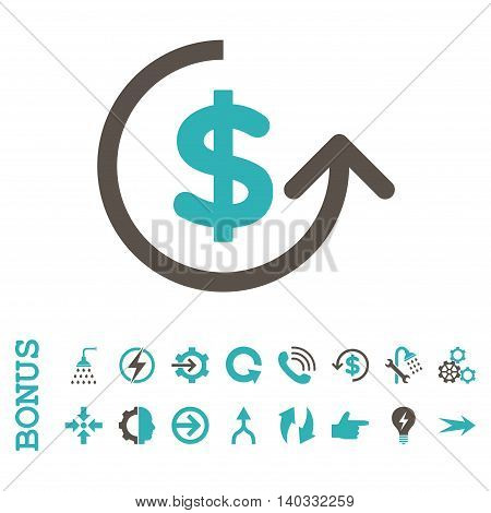 Chargeback vector bicolor icon. Image style is a flat iconic symbol, grey and cyan colors, white background.