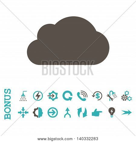 Cloud vector bicolor icon. Image style is a flat pictogram symbol, grey and cyan colors, white background.