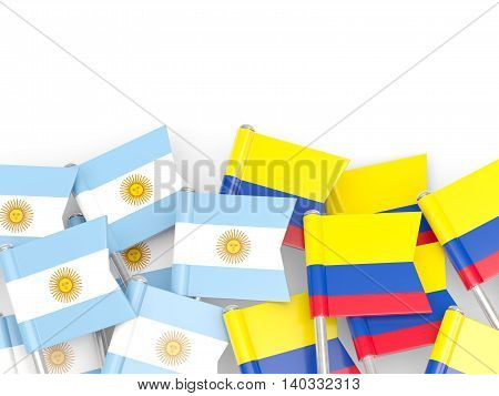 Flags Of Argentina And Colombia Isolated On White