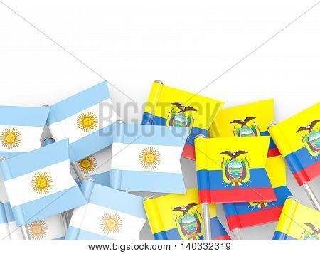 Flags Of Argentina And Ecuador Isolated On White