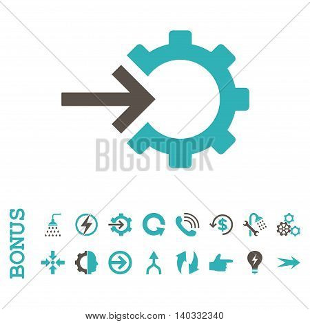 Cog Integration vector bicolor icon. Image style is a flat pictogram symbol, grey and cyan colors, white background.