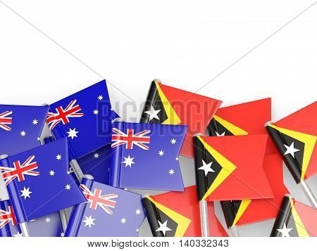 Flags Of Australia And East Timor Isolated On White