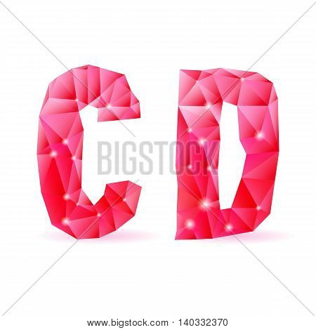 Shiny ruby polygonal font. Crystal style C and D letters