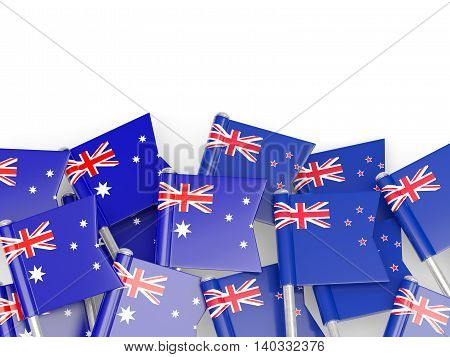 Flags Of Australia And New Zealand Isolated On White