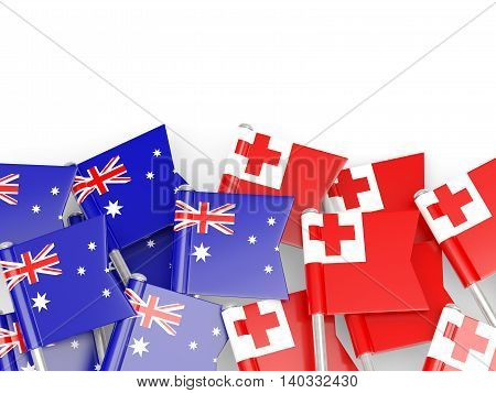Flags Of Australia And Tonga Isolated On White