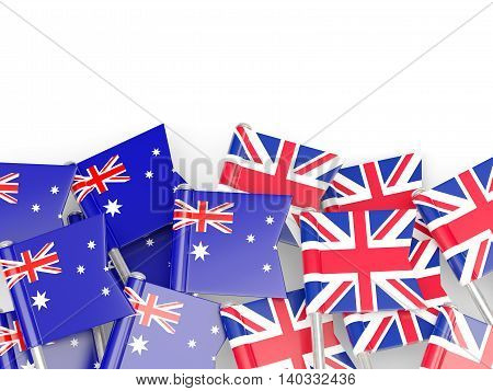 Flags Of Australia And Uk Isolated On White