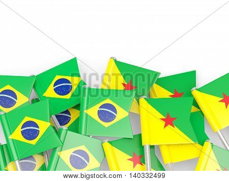 Flags Of Brazil And French Guiana Isolated On White