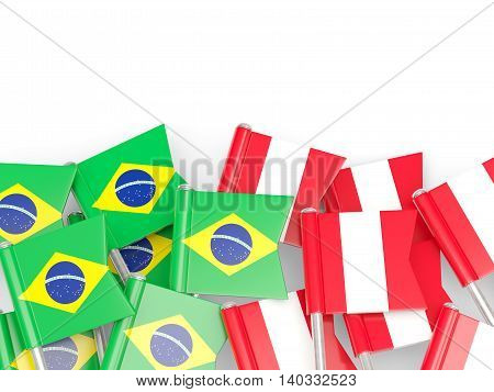 Flags Of Brazil And Peru Isolated On White