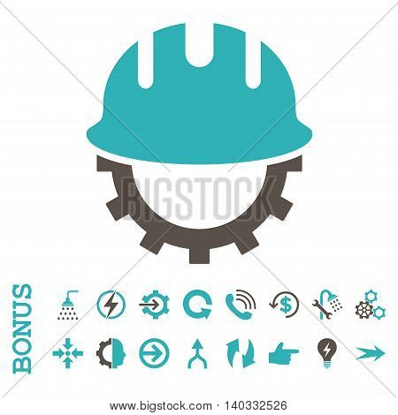 Development Hardhat vector bicolor icon. Image style is a flat pictogram symbol, grey and cyan colors, white background.