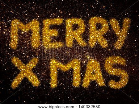 gold glitter abstract background with word Merry Xmas