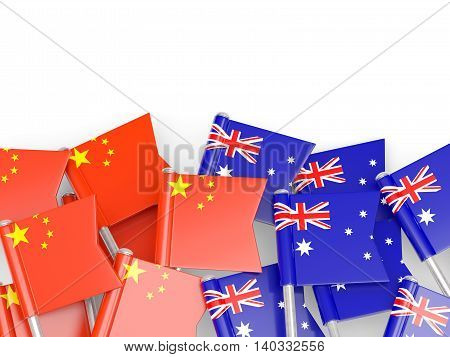 Flags Of China And Australia Isolated On White